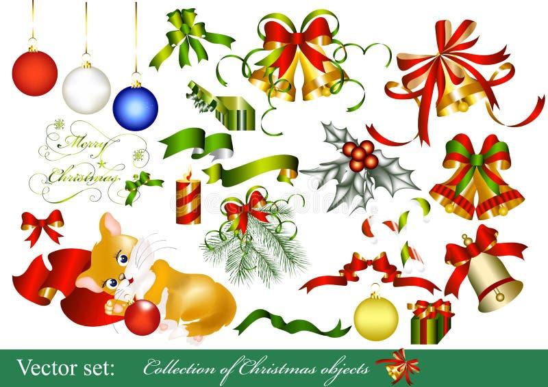 Inzameling van de elementen van het Kerstmisontwerp royalty-vrije illustratie