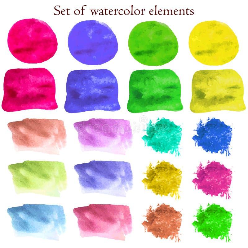 Inzameling van de elementen van het waterverfontwerp op verschillende kleuren royalty-vrije illustratie