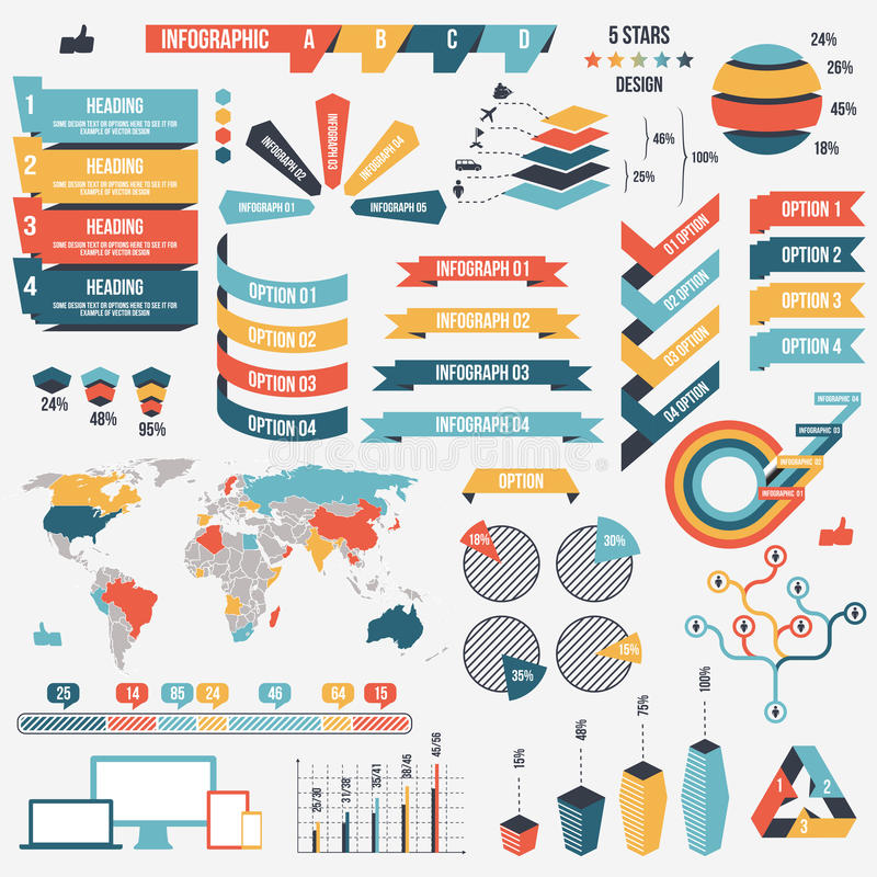 Inzameling van de elementen van infographmensen voor zaken Vector illustratie Infographicpictogrammen Infographs en stock illustratie