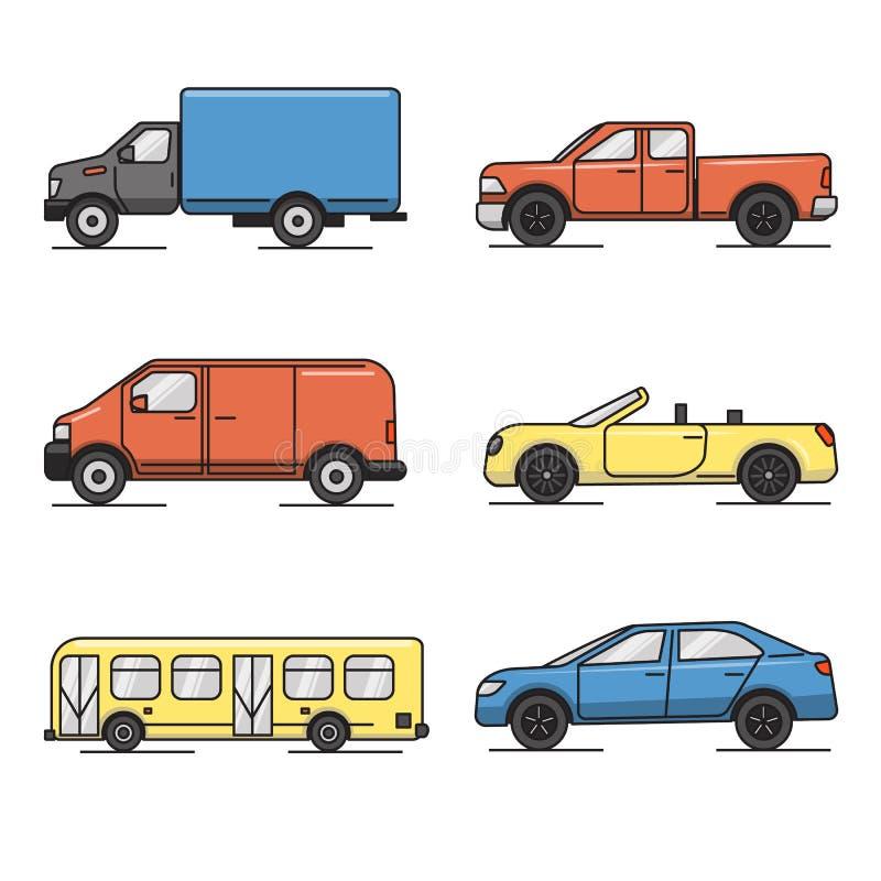 Inzameling van de gekleurde dunne pictogrammen van het lijnvervoer royalty-vrije illustratie