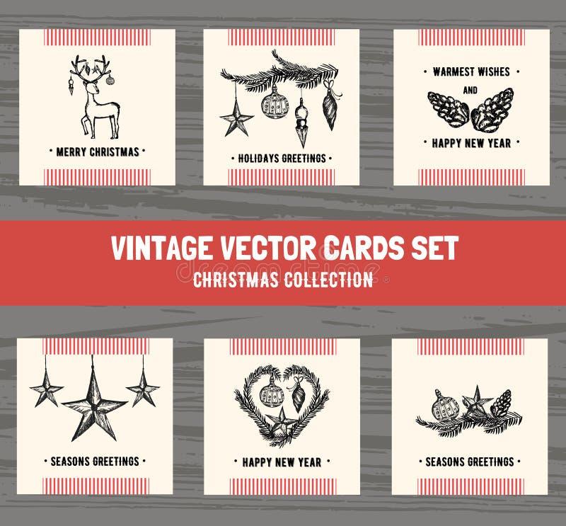 Inzameling van de Hand getrokken kaarten van de Kerstmisgroet Kerstmis en vakantiekaarten in retro stijl Vector illustratie royalty-vrije illustratie