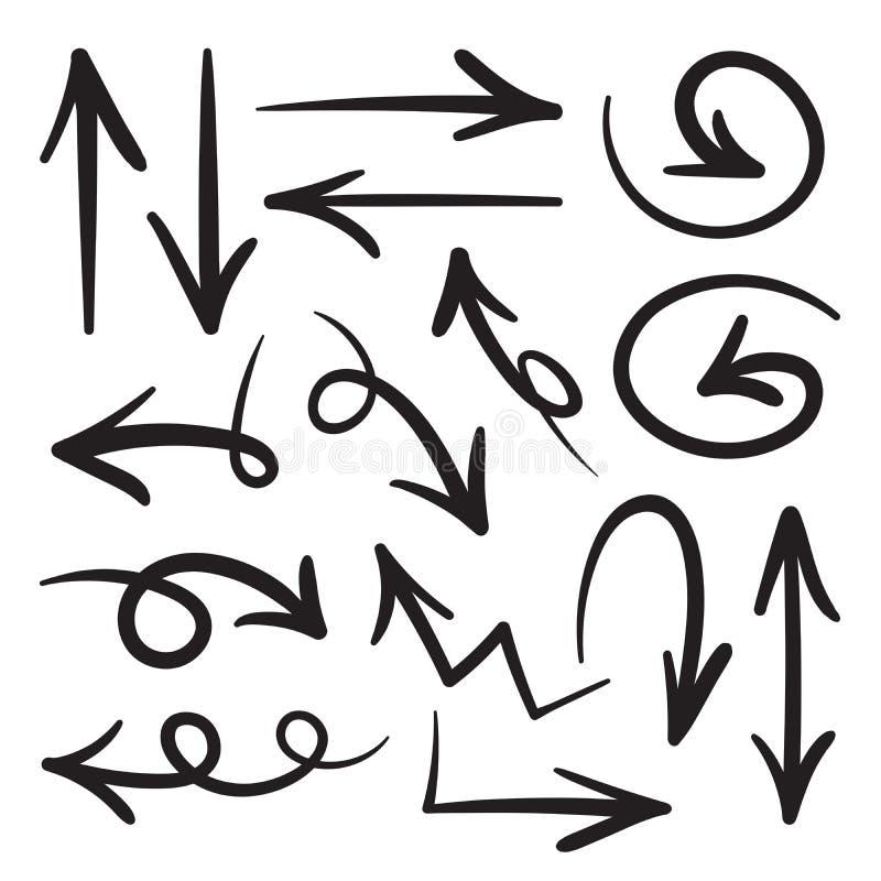 Inzameling van de hand getrokken pijlen van de krabbelstijl in diverse richtingen en stijlen , Vectordiepijlenreeksen op witte ac stock illustratie