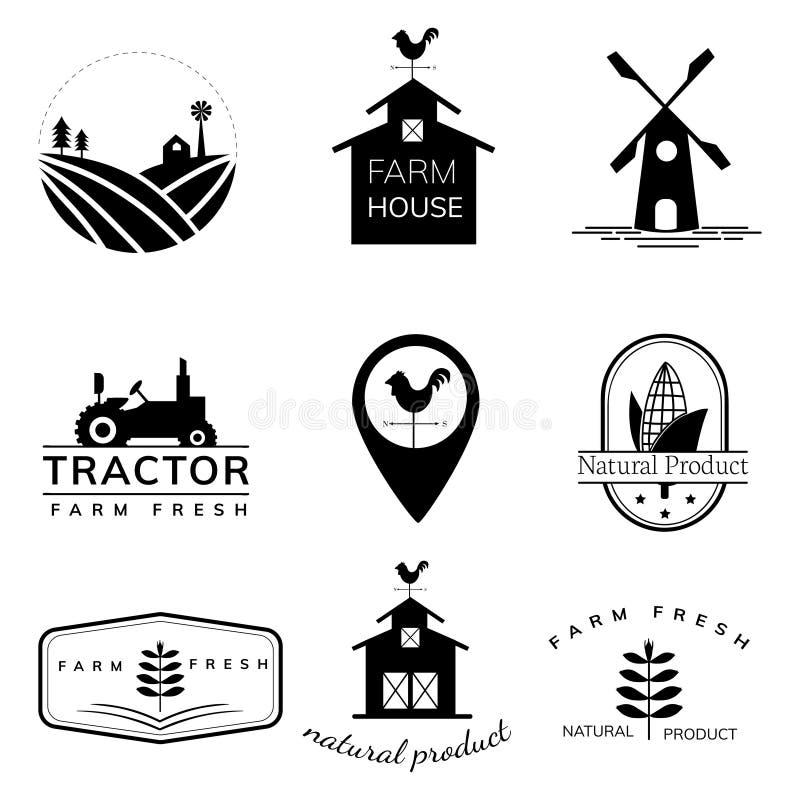 Inzameling van de illustraties van het de landbouwembleem royalty-vrije illustratie