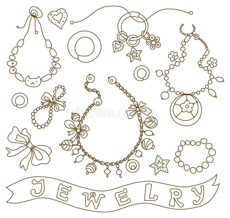 Inzameling van de juwelen van vrouwen vector illustratie