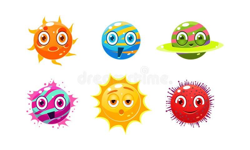 Inzameling van de kleurrijke karakters van fantasieplaneten, gebieden met grappige gezichten, gebruikersinterfaceactiva voor mobi royalty-vrije illustratie