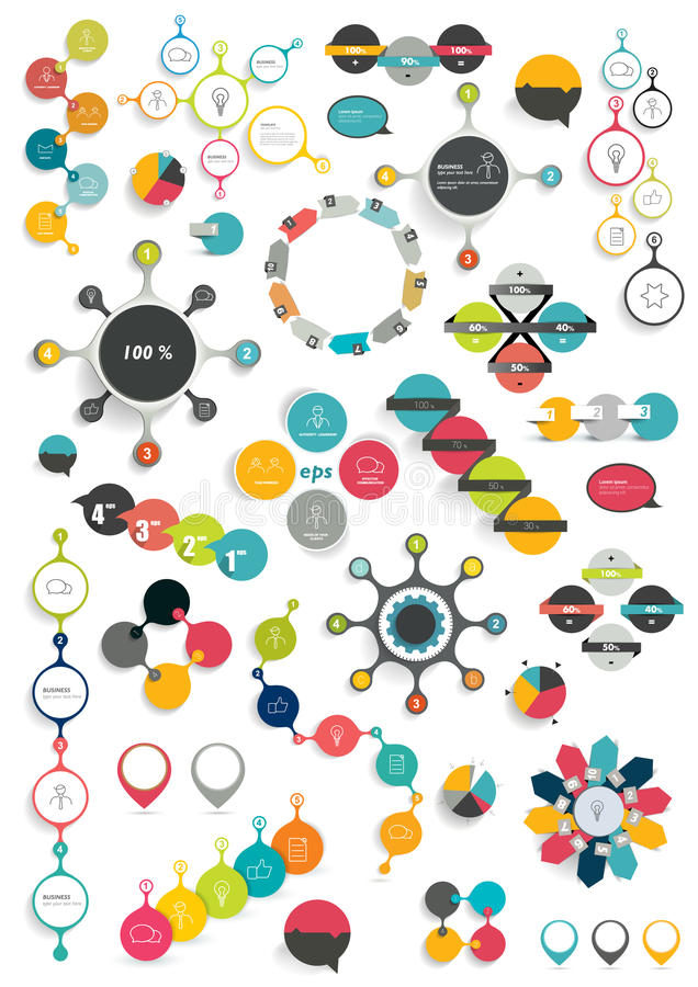Inzameling van de kleurrijke ronde diagrammen van de informatiegrafiek royalty-vrije illustratie
