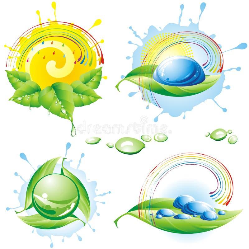 Inzameling van de lente eco-pictogrammen. stock illustratie