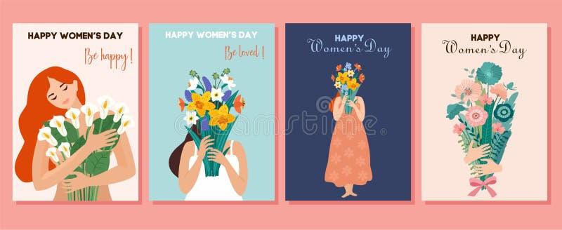 Inzameling van de lentekaarten Internationale Vrouwen` s Dag Vectorillustratie met leuk vrouwen en boeket van bloemen Mooie templ vector illustratie