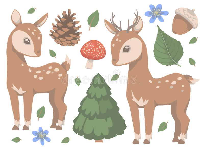 Inzameling van de leuke bos dierlijke herten van de beeldverhaalstijl met paddestoel, van de pijnboomboom, van bloemen en van bla vector illustratie