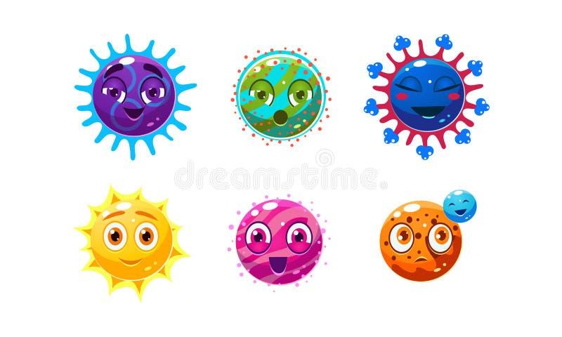Inzameling van de leuke karakters van fantasieplaneten, kleurrijke gebieden met grappige gezichten, gebruikersinterfaceactiva voo stock illustratie