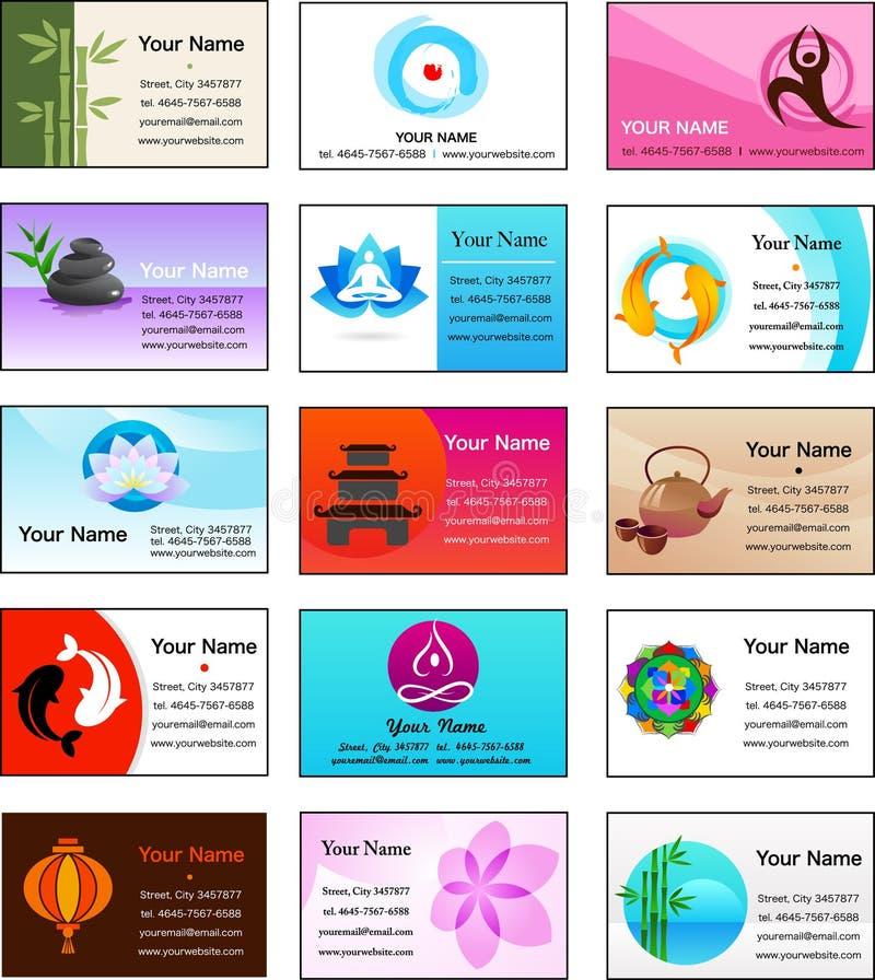 Inzameling van de malplaatjes van de Yoga en van het adreskaartje Zen royalty-vrije illustratie