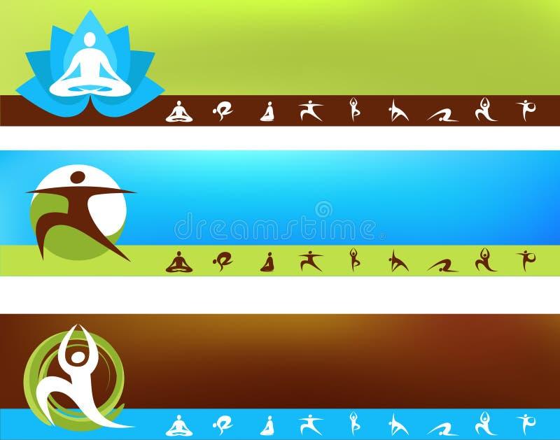Inzameling van de malplaatjes van de Yoga met embleem en pictogrammen vector illustratie