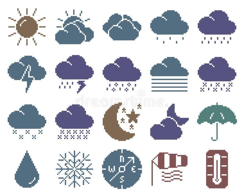 Inzameling van de monochromatische pictogrammen van het pixelweer stock illustratie
