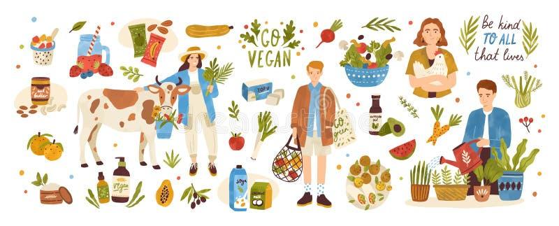 Inzameling van de organische producten van de ecoveganist - natuurlijke schoonheidsmiddelen, groenten, vruchten, bessen, tofu, no royalty-vrije illustratie