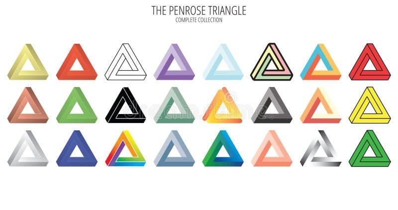 Inzameling van de Penrose de onmogelijke driehoek vector illustratie