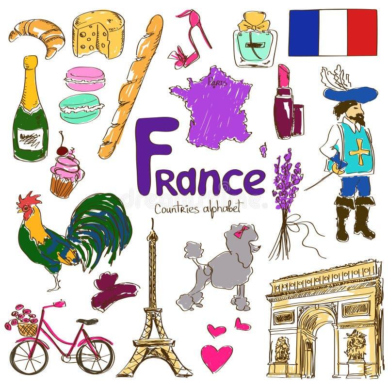 Inzameling van de pictogrammen van Frankrijk royalty-vrije illustratie