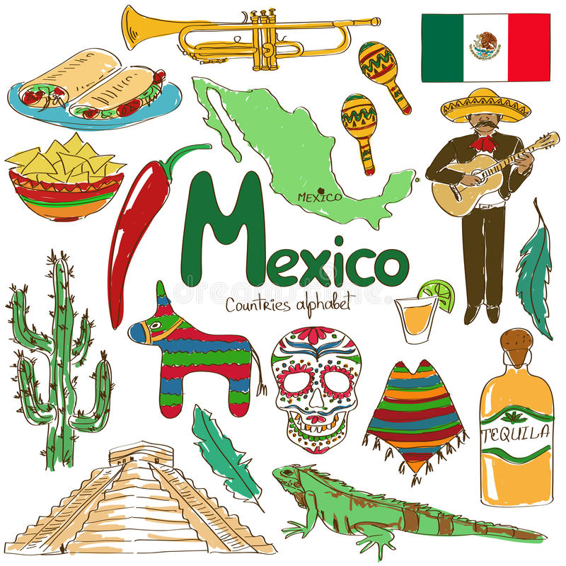 Inzameling van de pictogrammen van Mexico stock illustratie
