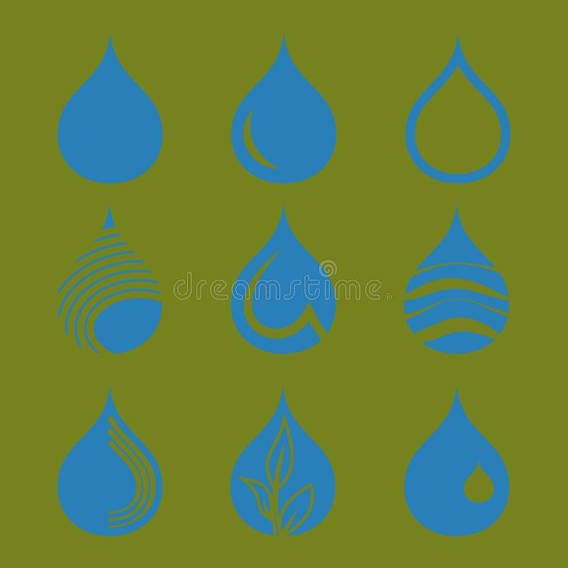 Inzameling van de pictogrammen van de waterdaling vector illustratie