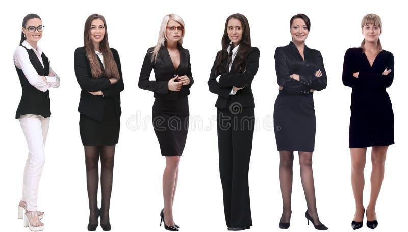 Inzameling van de portretten van gemiddelde lengte van jonge bedrijfsvrouwen stock afbeeldingen