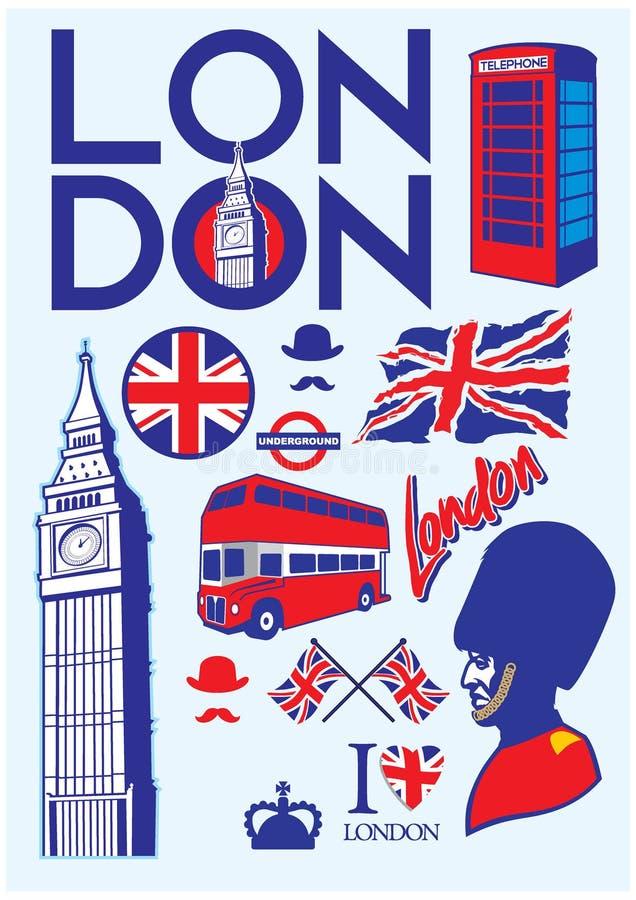 Inzameling van de reeks van Londen stock illustratie