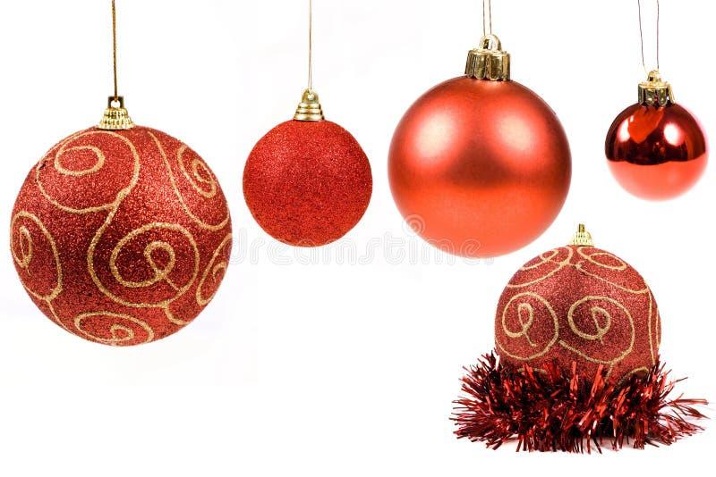 Inzameling van de Rode ballen van Kerstmis stock foto's