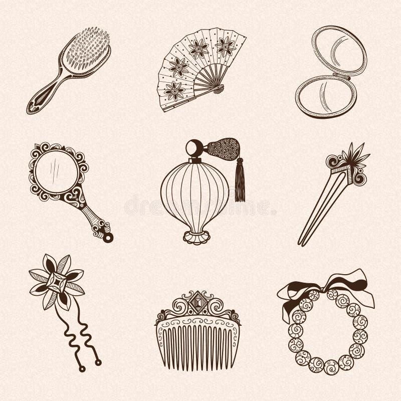 Inzameling van de schoonheidstoebehoren van de dame de uitstekende stock illustratie