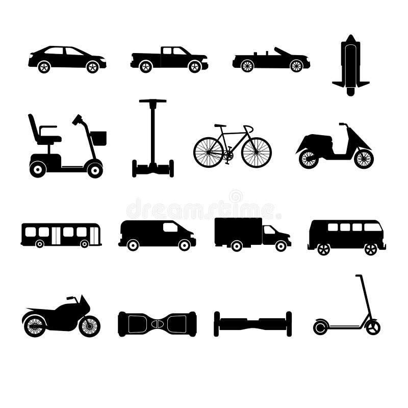 Inzameling van de silhouetten van vervoerpictogrammen royalty-vrije illustratie
