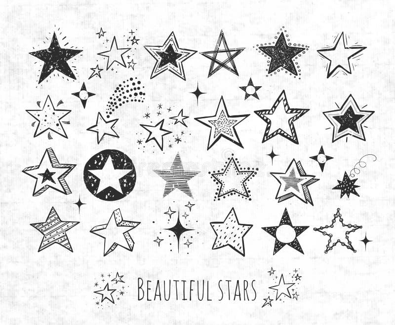 Inzameling van de sterren van de grungekrabbel op rijstpapierachtergrond Vector illustratie vector illustratie