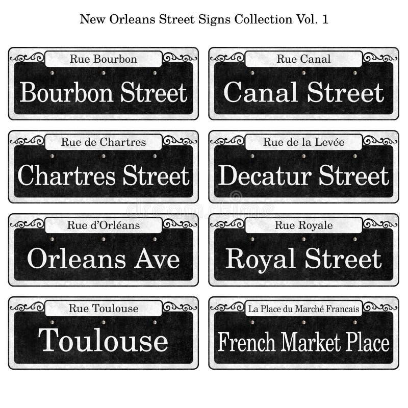 Inzameling van de Straattekens van New Orleans de Historische vector illustratie