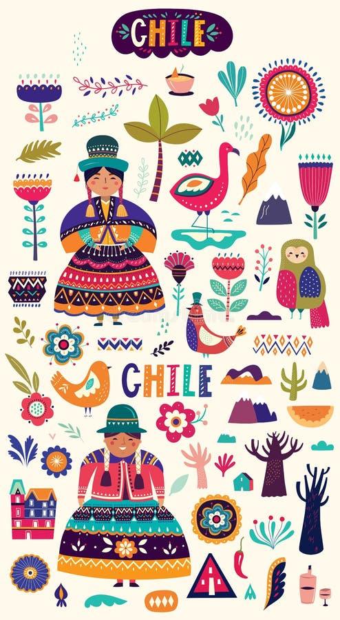 Inzameling van de symbolen van Chili Nationale kostuums van Chili vector illustratie