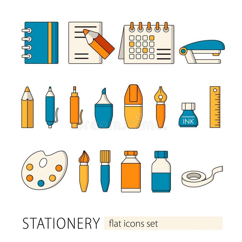Inzameling van de vlakke pictogrammen van de stijlkantoorbehoeften School en Kantoorbenodigdheden Vector illustratie royalty-vrije illustratie