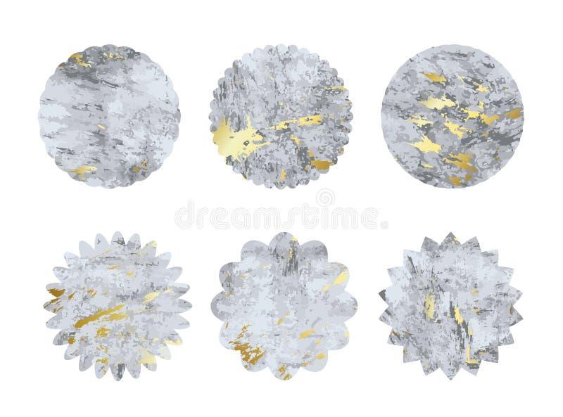Inzameling van de vormen van de grungecirkel met gouden textuur ontwerpelementen voor embleem, het brandmerken, etiket Beeldverha stock illustratie