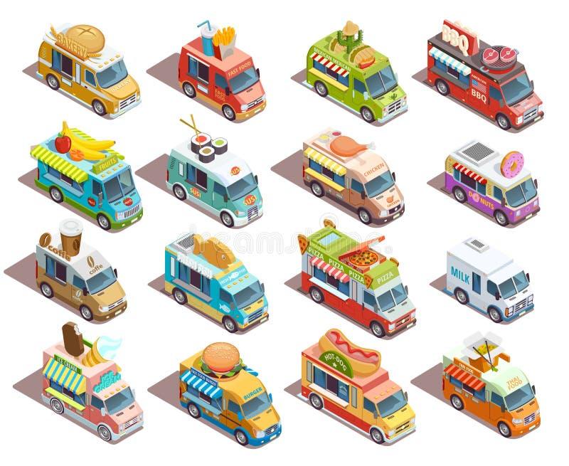 Inzameling van de Vrachtwagens de Isometrische Pictogrammen van het straatvoedsel royalty-vrije illustratie
