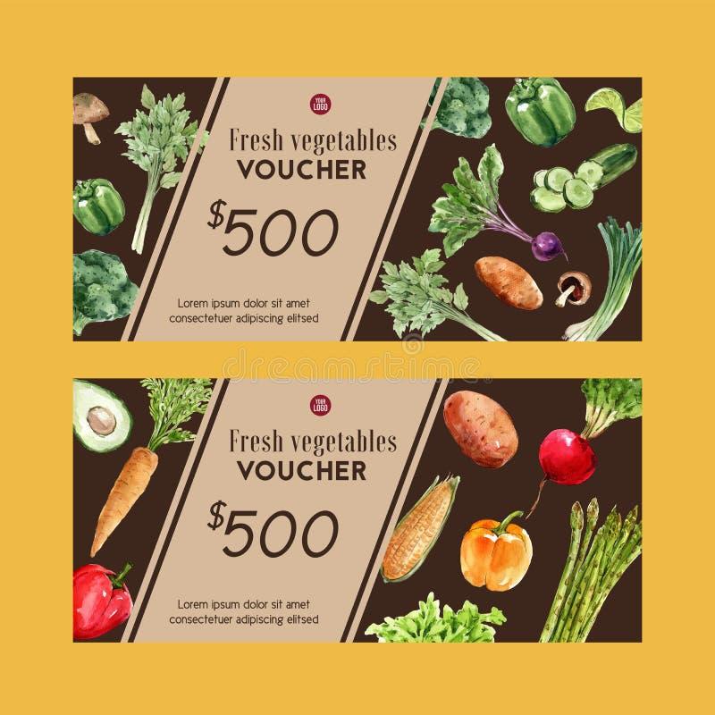 Inzameling van de de waterverfverf van de giftbon de plantaardige De verse illustratie van het voedsel organische gezonde ontwerp vector illustratie