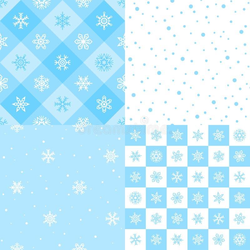 Inzameling van de winter, Nieuwjaar naadloze patronen met sneeuw, sneeuwvlokken vector illustratie