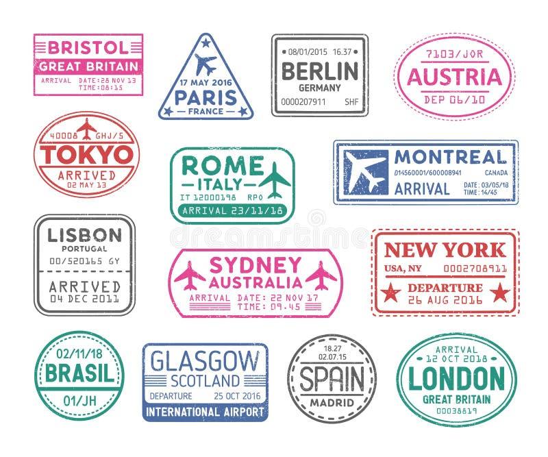 Inzameling van de zegels van het paspoortvisum op witte achtergrond wordt geïsoleerd die Bundel van reis of toeristische tekens R vector illustratie