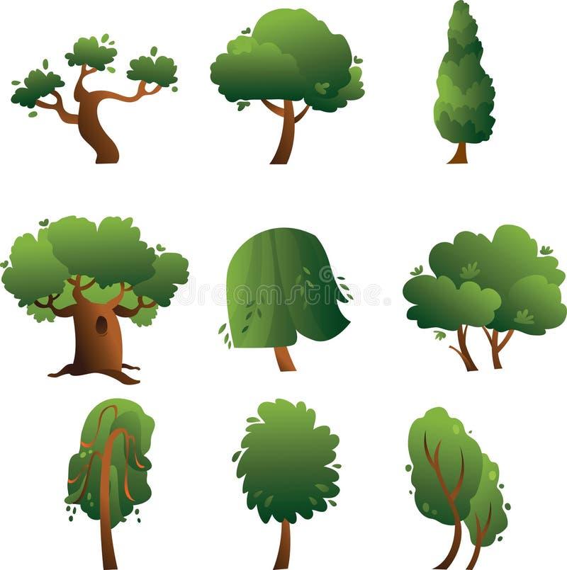Inzameling van de zomerbomen die op de witte achtergrond wordt geïsoleerdd royalty-vrije illustratie