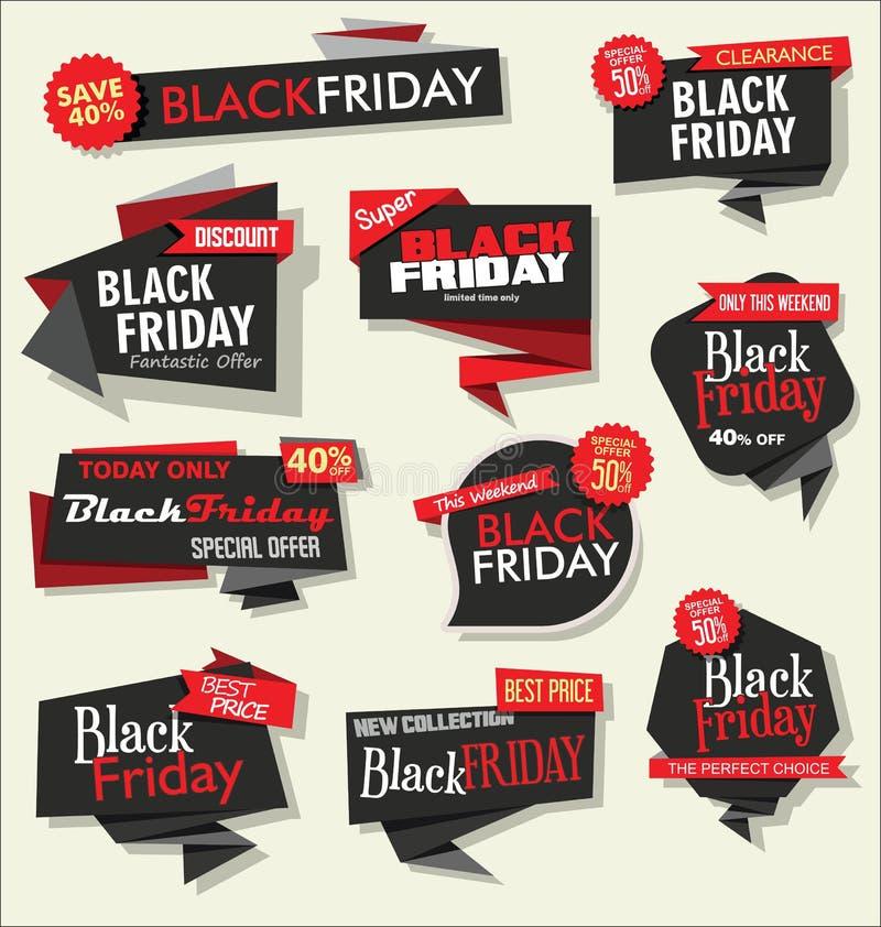 Inzameling van de zwarte korting van de Vrijdagverkoop en bevorderingsbanners en etiketten vector illustratie