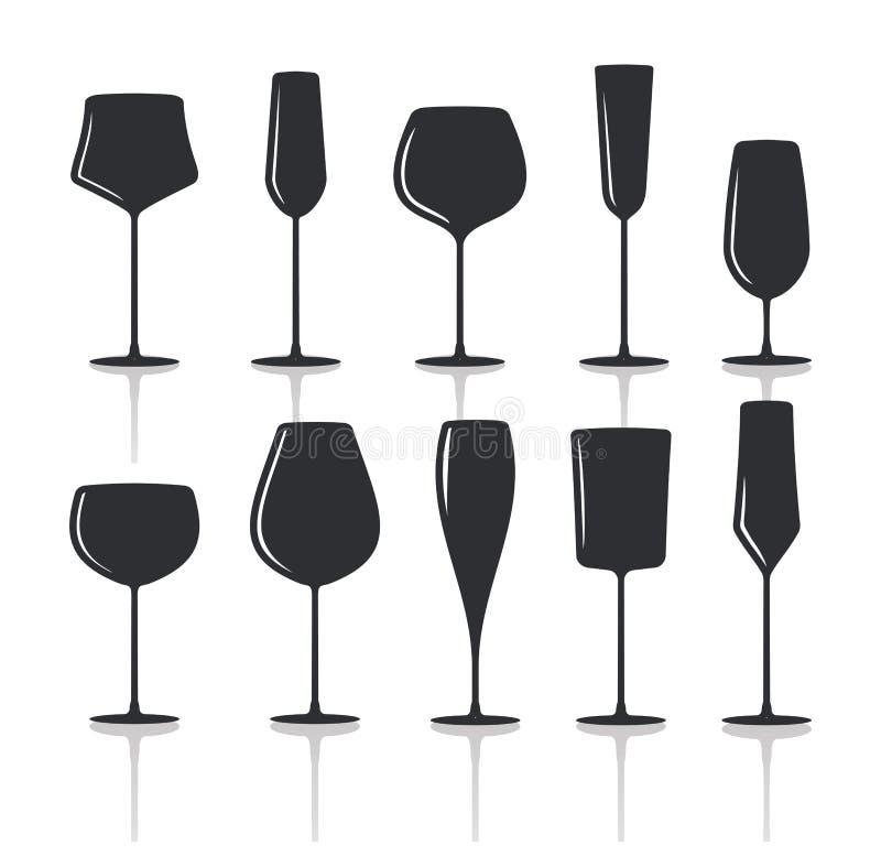 Inzameling van de zwarte silhouetten t van wijnglazen royalty-vrije illustratie