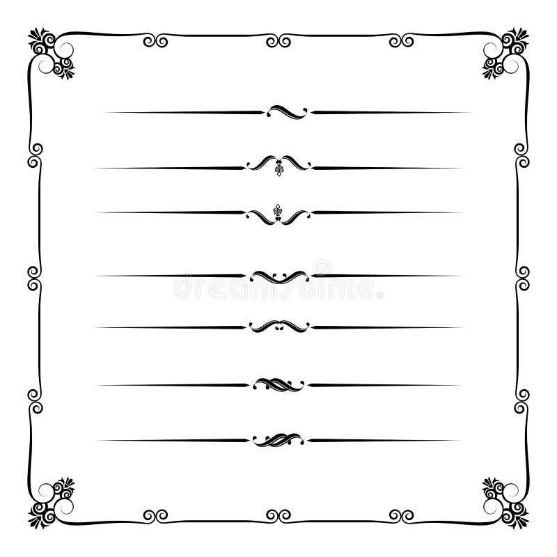Inzameling van decoratieve lijnelementen, grens en paginaregels ve royalty-vrije illustratie