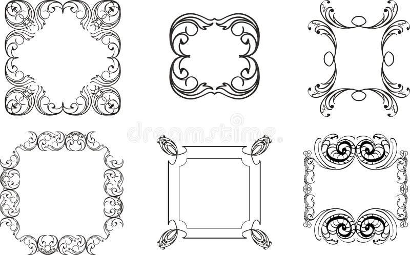 Inzameling van decoratieve uitstekende kaders, uitstekende grenzen, monogr stock illustratie