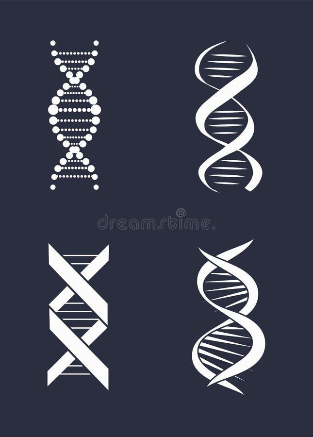 Inzameling van Deoxyribonucleic Zuur de Kettingsembleem van DNA royalty-vrije illustratie