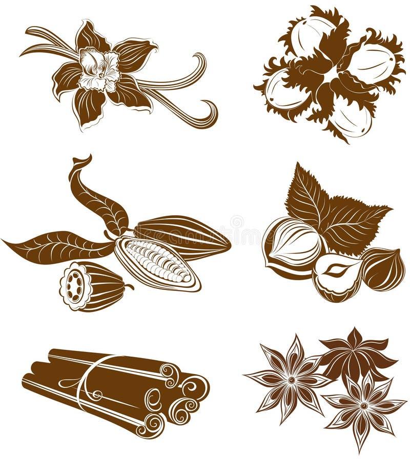 Inzameling van dessertingrediënten. Hazelnoten, Cacaobonen, Vanil royalty-vrije illustratie