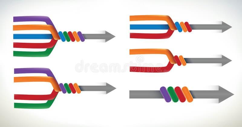 Inzameling van diagrammen van het verenigen van pijlen vector illustratie