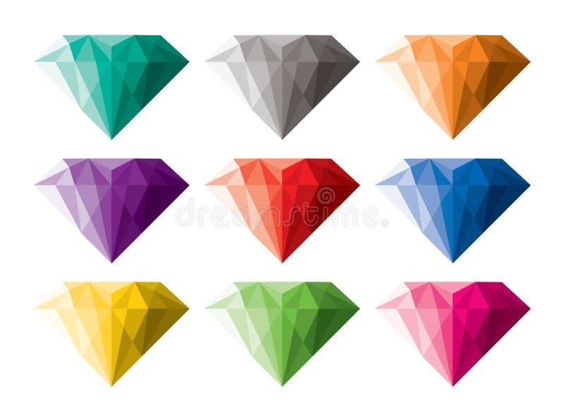 Inzameling van diamanten stock illustratie