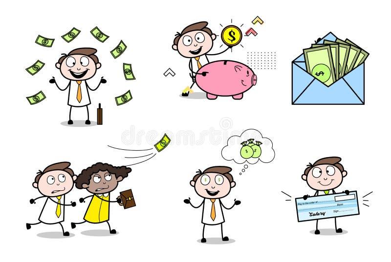 Inzameling van Divers Geldconcept Beeldverhaalberoeps stock illustratie