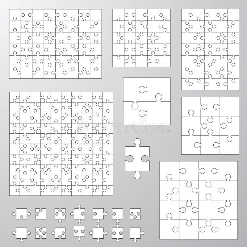 Inzameling van diverse groottepuzzel vector illustratie