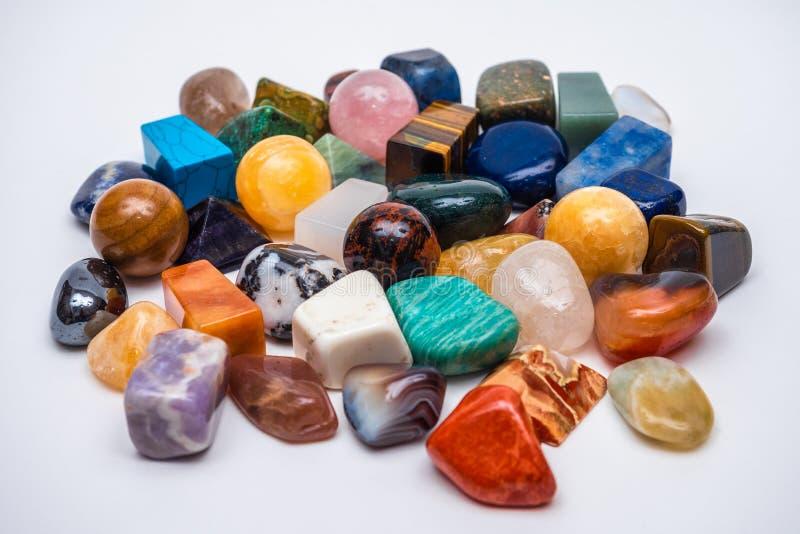Inzameling van diverse kristallen royalty-vrije stock afbeeldingen