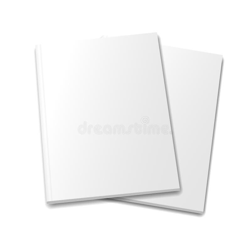 Inzameling van diverse lege witte boeken op wit vector illustratie