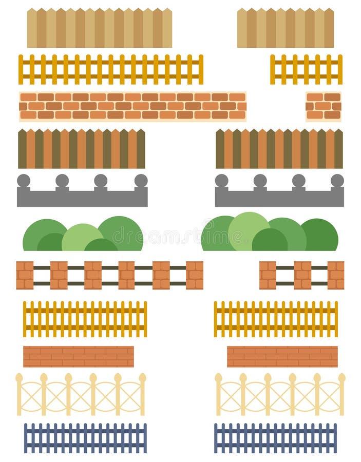 Inzameling van diverse omheiningen en barrières vector illustratie